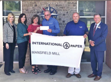 International Paper Foundation through the Mansfield Mill donates $9,000 to NLTCC's Mansfield Campus