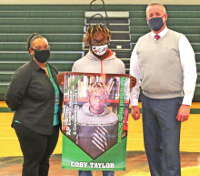 MHS's Coby Taylor Presented Honor Banner by DPSO Superintendent