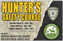 DPSO and LDWF Offer Hunters' Safety Class August 12th thru 14th